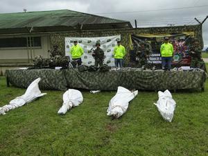 Fotografía oficial del Ejército Colombiano  adjudicándose las muertes