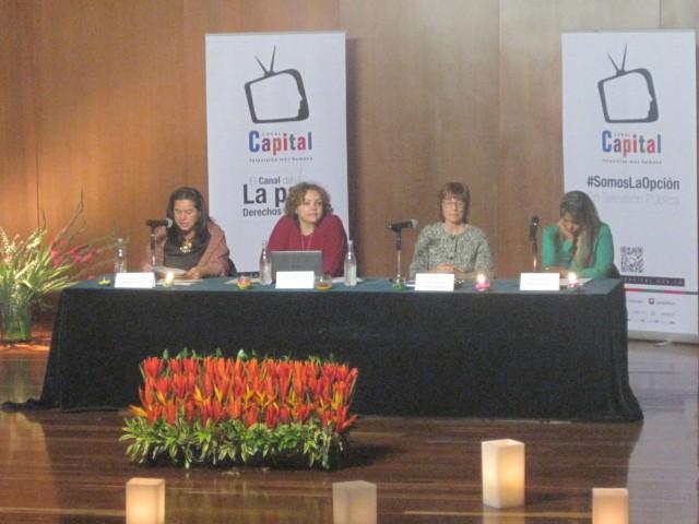 Foto CNAI/ Segundo Panel del Foro, Alejandra Miller (Moderadora), Ivonne Díaz, Carmen Magallón, Marina Gallego. 8 de Julio 2015