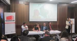 Foto CNAI/ de izq a der, Diego Luis Arias, Neila Hernández Vasquéz, José Francisco Restrepo, Yesid Beltrán. Centro de Memoria Histórica, 16 de julio 2015.