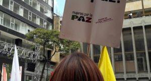 Foto: Germán Moreno Coordinador de Comunicaciones en Proyecto Capacidades para la Paz Territorial/ Concentración en la Jiménez con 7º el 23 de junio de 2016