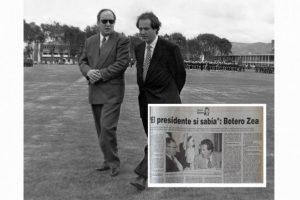 Foto: EE/ El presidente Ernesto Samper junto a Fernando Botero Zea. / Reproducción de la edición del martes 23 de enero de 1996 de El Espectador.