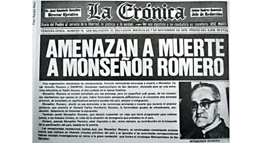 Periódico La Crónica de El Salvador reseña amenaza de muerte contra Monseñor Romero. Foto:Transparencia Activa