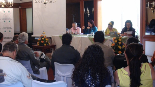 Foto CNAI/ Mesa directiva de la X Asamblea Nacional 2015. Pedro Lucas Torres, Esperanza Paredes, Denis Dussan Márquez, Martha Jenith Turriago.