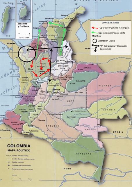 Mapa político tomado del portal ColombiaVive con elaboración propia de las convenciones para cada operación paramilitar.