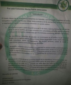 Este fue el panfleto de las Autodefensas Gaitanistas que circuló en Urabá.