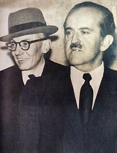Foto: Revista Credencial Historia, edición 201/ 1957. El expresidente Alberto Lleras Camargo, y el jefe conservador Guillermo León Valencia.