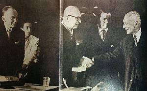 Foto: Revista Credencial Historia, edición 201/ Los expresidentes Alfonso López Pumarejo y Laureano Gómez, estrechan sus manos después de dos décadas de enconada enemistad política.